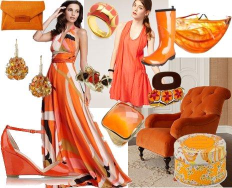 Оранжеви рокли и аксесоари