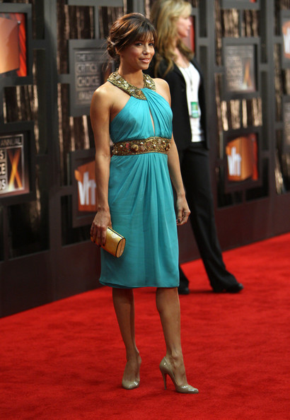 Ева Лонгория в тюркоазена рокля на 14-тите награди на критиците