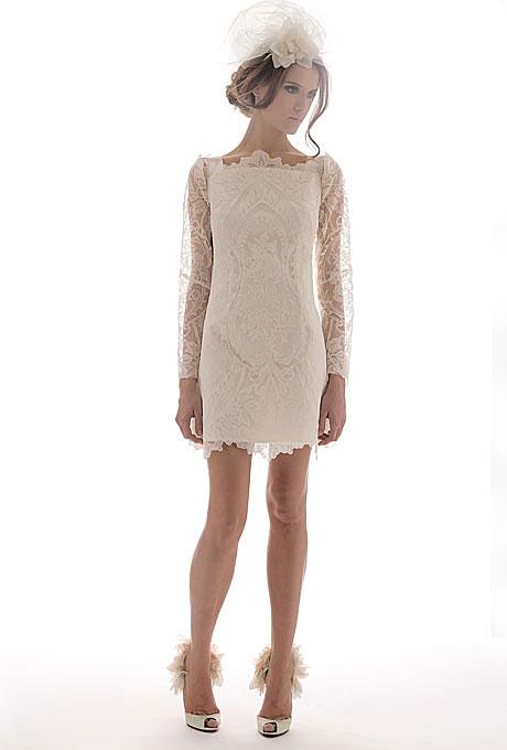 Къса булчинска рокля с дантела Elisabeth Fillmore Пролет 2012
