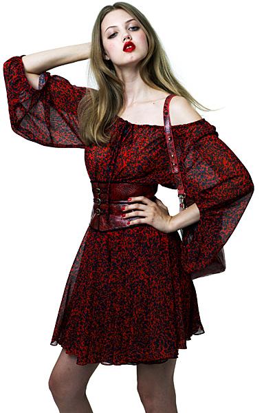 Ефирна рокля с паднали рамене в червено и черно Ваканционна колекция Z Spoke на Zac Posen 2012
