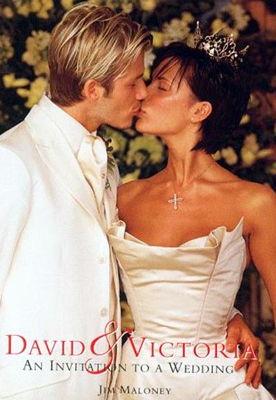 Виктория Адамс (вече Бекъм) на сватбата си с Дейвид Бекъм