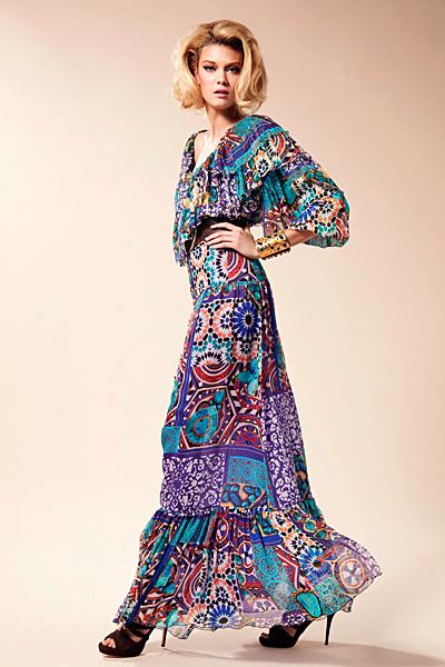 Дълга ефирна рокля с многоцветен десен Предпролетна колекция Blumarine за 2012