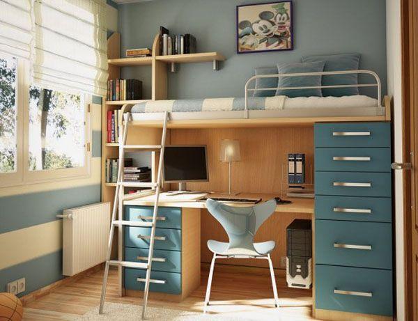 Детска стая за момче на малко пространство с легло със стълба