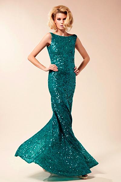Дълга вечерна рокля тип русалка в цвят тюркоаз Предпролетна колекция Blumarine за 2012