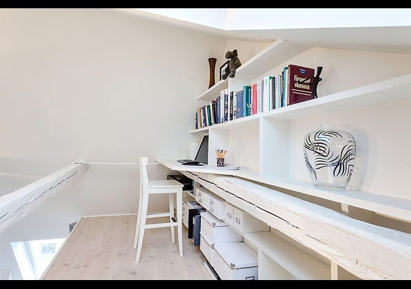 мини бюро в компактна мансарда в Стокхолм