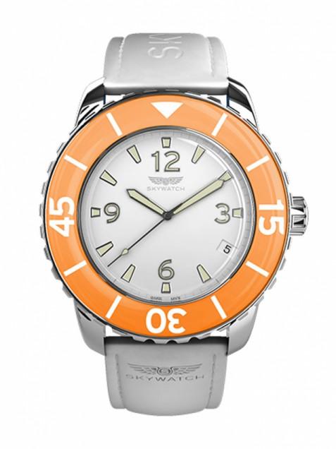 Часовник с оранжева камка на циферблата Skywatch
