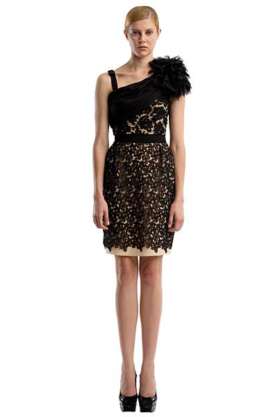 Парти рокля с черна дантела с едно рамо Ваканционна колекция Peter Som 2012