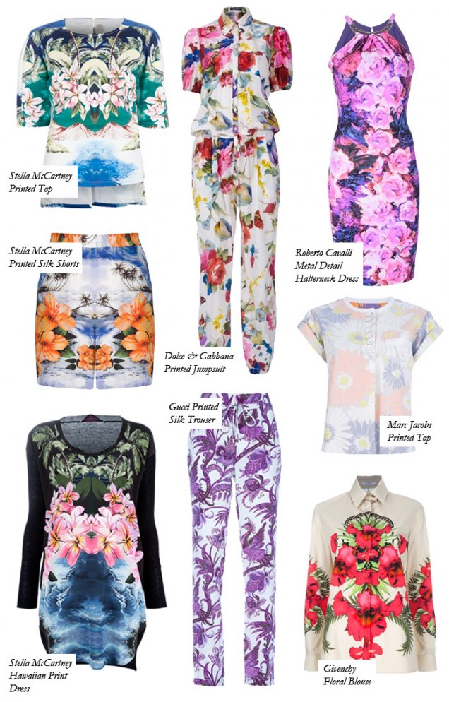 Предложения с принт големи цветя от Dolce and Gabbana, Marc Jacobs, Stella McCartney, Roberto Cavalli и др