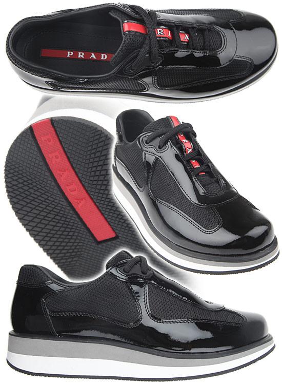 Черни лачени спортни обувки на платформа Prada 2012