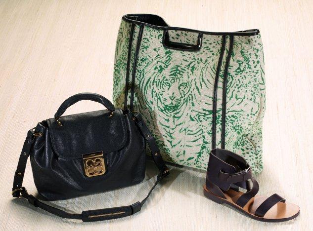 Ежедневна чанта кожа и голяма чанта текстил с равни сандали Chloe