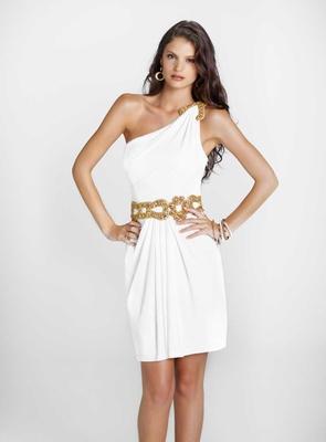 Разкошна къса бяла рокля с едно рамо със златист колан за бал 2012
