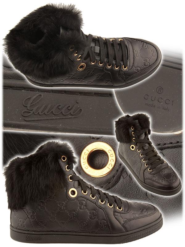 Черни кожени блейзъри с пух Gucci 2012