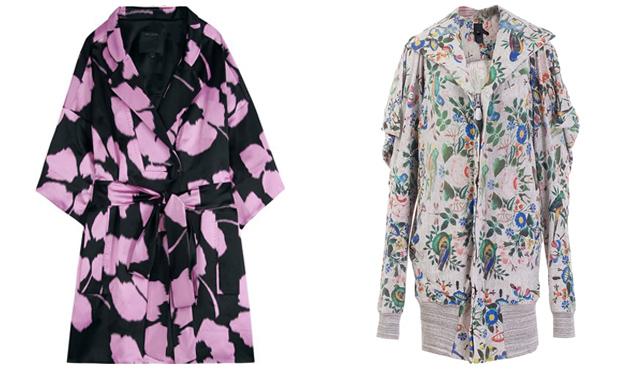 Вляво - копринено палто на розови цветя Marc Jacobs, вдясно - горна дреха с цип на цветя Bernard Willhelm