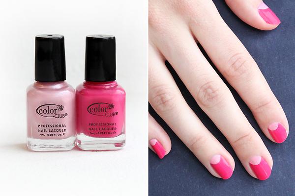 Декорация за нокти лунно затъмнение с двя цвята розово