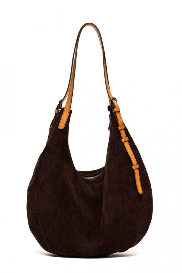 Шоколадово кафява чанта велур със светла дръжка VBH зима 2011/2012