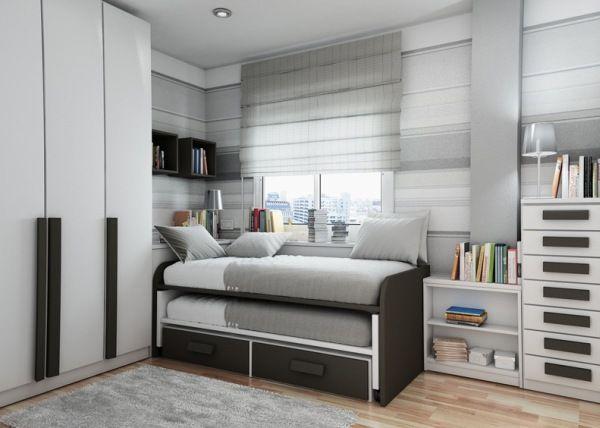 Детска стая за момче в сиво и бяло с разтягащо се легло