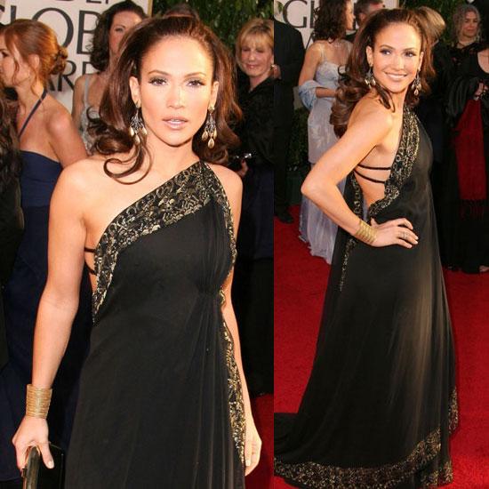 Дженифъ Лопез в черна дълга рокля с етно мотив
