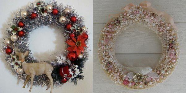 Коледен венец за врата с елен и коледен венец с бледо розово