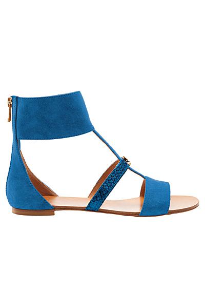 Равни велурени сандали в синьо с лента около глезена Furla Пролет-Лято 2012