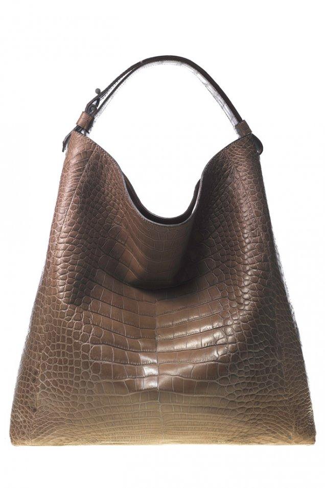 Голяма чанта от кафява кожа на люспи Reed Krakoff Зима 2011/2012