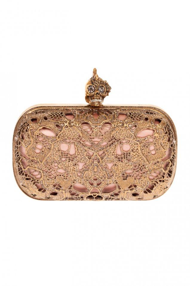 Малка парти чанта с метална дантела Alexander McQueen Пролет 2012