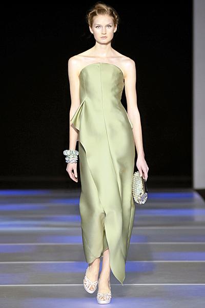 Златисто- зеленикава рокля без презрамки Giorgio Armani Пролет-Лято 2012