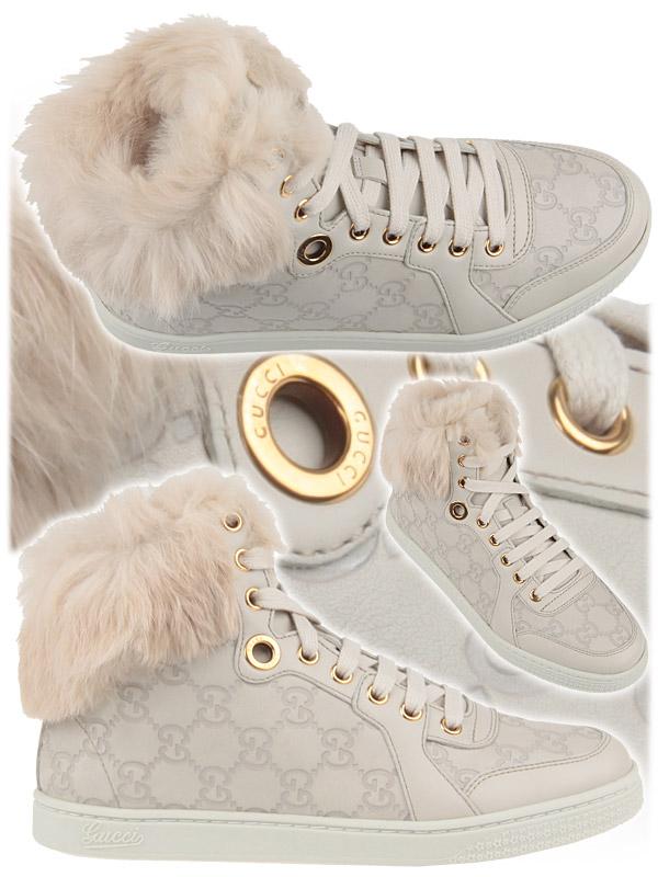 Бели кецове с пух Gucci  2012