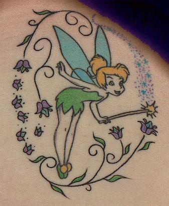 Цветна татуировка фея
