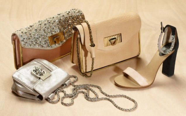 Chloe малки чанти за рамо с пасващи обувки в телесен цвят