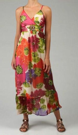 Макси рокля шифон на големи цветя пролет-лято 2012