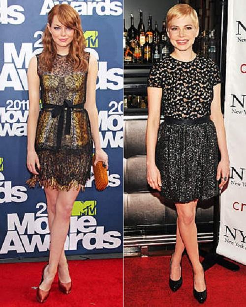 Ема Стоун и Нина Ричи в актуалните за есен-зима 2011 рокли с дантела