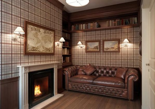 Приказен апартамент в Петербург - кабинет с камина