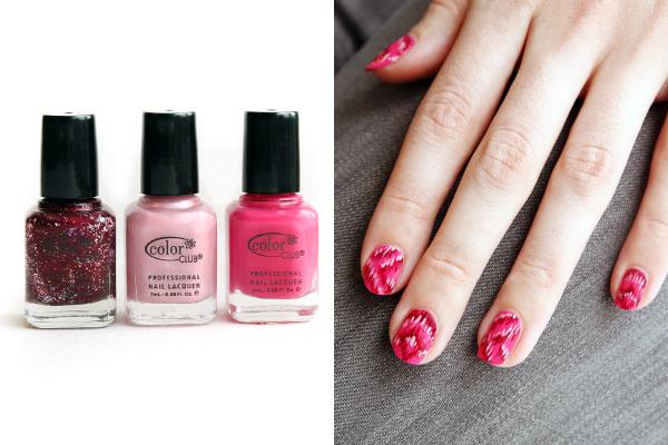 Декорация напръскани розови нокти с 3 цвята