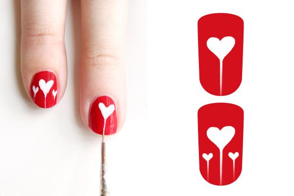 Декорация за нокти сърца - стъпка 2