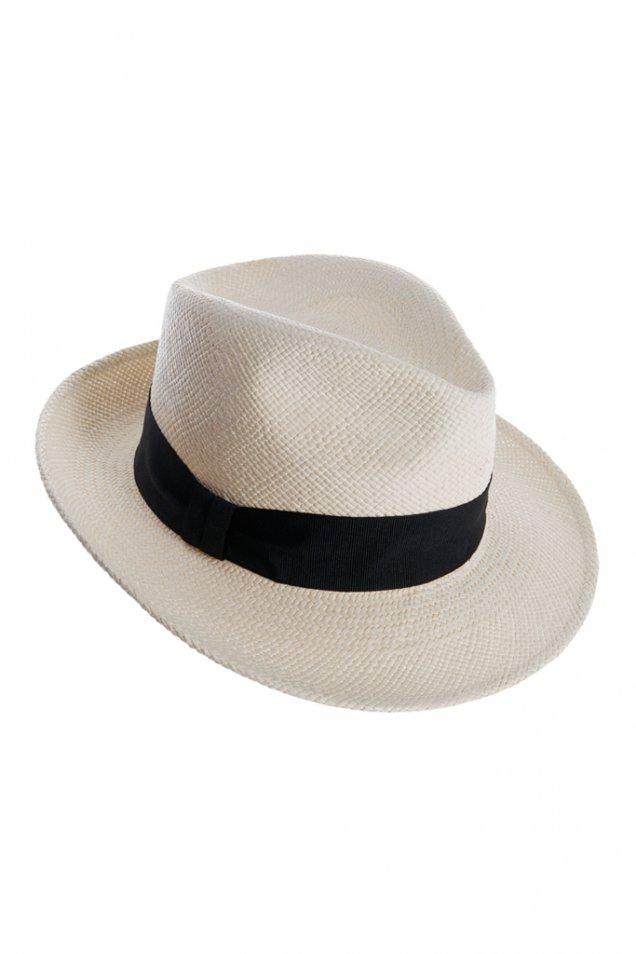 Бяла сламена шапка с периферия и черна лента Emilio Pucci пролет лято 2012