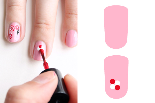Декорация за нокти рози - стъпка 1