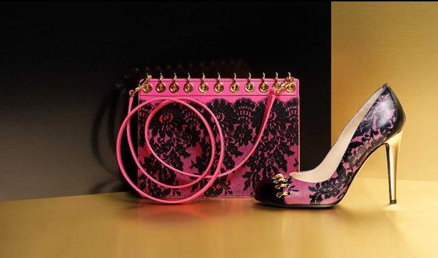 Чанта тетрадка и обувки в розово с черна дантела