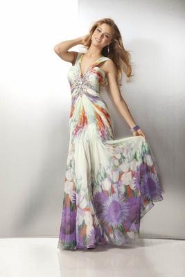 Бални рокли 2012 Дълга бална рокля на цветя 2012