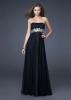 Дълга черна бална рокля без презрамки 2012