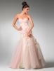 Нежно розова дълга рокля без презрамки модел русалка за бал 2012
