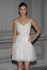 Къса булчинска рокля с бродерия и тънки презрамки Monique Lhuillier пролет 2012