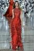 Дълга тъмно червена рокля с перфорирани волани Giles пролет 2012