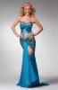 Дълга рокля без презрамки синя с камъни и дълга цепка за бал 2012