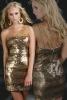Къса бална рокля със златисти пайети 2012