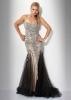 Дълга рокля без презрамки в сребристо с камъни и черен шлейф за бал 2012