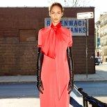 Дълга монохромна рокля в ябълково розово Givenchy 2012
