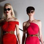 Червена рокля по тяло и бански цял розов Ваканционна колекция Lanvin 2012
