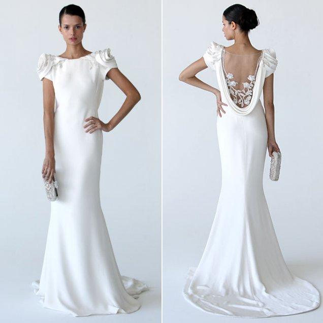 Семпла снежно бяла булчинска рокля Mаrchesa със секси гръб