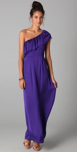 Макси рокля с едно рамо във виолетово Rebecca Taylor