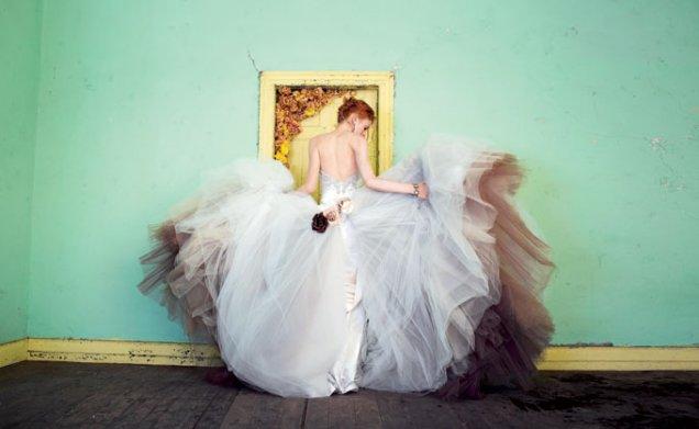 Булчинска рокля русалка сатен с пола тюл Victor Harper
